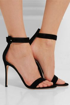 Heel measures approximately 105mm/ 4 inches Black suede Buckle-fastening ankle strap Made in Italy