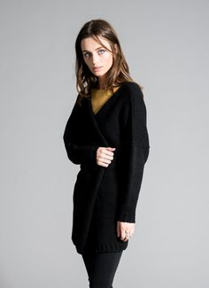 Simple Black Long Sweater / Casual Warm Cardigan. Made of the highest quality Italian wool, the sweater is silky soft and appropriate for the most sensitive skin. Make a statement - be unique! – a unique product by marcellamoda via en.DaWanda.com