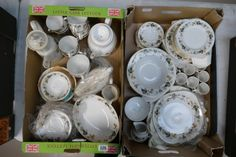 Auction of 20th Century British Pottery, collectors items, household items, antique and quality furniture – Lot 326 – A large collection of Royal Doulton tea and dinner ware in the Larchmont pattern to include part tea set, part coffee set, pasta bowls, dinner plates, serving platters etc (2 trays)