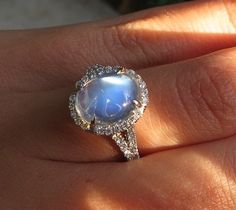 Moonstone halo by David Klass Jewelry.
