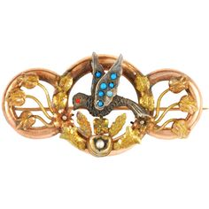 1STDIBS.COM Jewelry & Watches - Victorian Gold, Turquoise, Pearl and... ❤ liked on Polyvore featuring jewelry, brooches, accessories, gold jewellery, yellow gold jewelry, gold coral jewelry, coral brooch and gold brooch