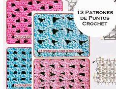 Crochet y dos agujas: 12 patrones de puntos crochet