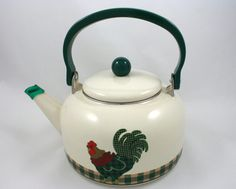 Vintage green plaid rooster tea kettle, chicken, hen, 10 cup cream enamelware teapot, gold kitchen decor, tea party, farmhouse style from SmilingCatVintage