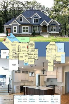 Architectural Designs House Plan 24376TW gives you 4BR, 3.5 BA, and over 4,3000 SQ FT of heated living space PLUS an optional finished lower level. Ready when you are. Where do YOU want to build? #24376TW #adhouseplans #architecturaldesigns #houseplan #architecture #newhome #newconstruction #newhouse #homedesign #dreamhome #dreamhouse #homeplan #architecture #architect #craftsmanhouse #craftsmanplan #craftsmanhome