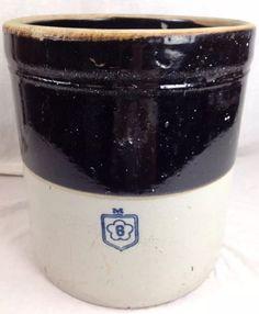 Antique 1910-1920 MCCOY 6 Gallon Sanitary Stoneware Crock Cobalt Blue Pickling  #primitivefarmrustic #NelsonMcCoy