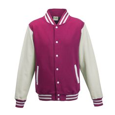 Just Hoods JH043 Hot Pink and Arctic White Varsity Jacket - £19.35