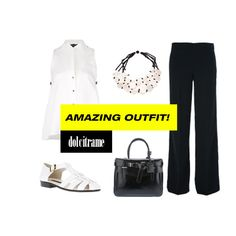 Go black and white! Timeless, classy and elegant! #ootd #outfit #black #white #timeless #classy #elegant #bag #tote #leather #reedkrakoff #susanatraca #sandals #shoes #trousers #pants #maesta #antonellafilippini #necklace #jewelry #teretbantine #top #womens #womenswear #farfetch #dolcitrame #dolcitrameshop