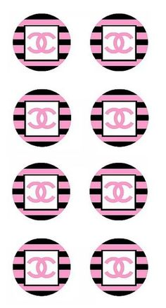Chanel Cupcakes, Printable Sticker Paper, Chanel Poster, Cupcake Toppers Free, Chanel Decor, Label Shapes, Chanel Party, Edible Printing, Bottle Cap Images