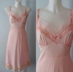 Vintage Pink Slip 1950s Full Slip Vintage Slip by MadMakCloset