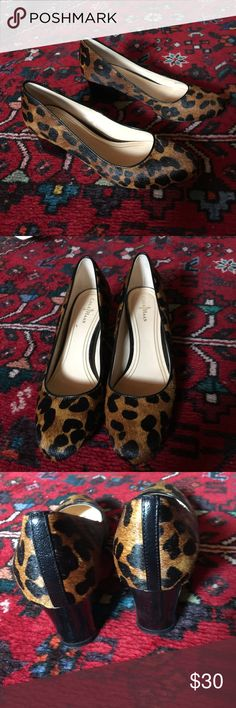 """Cole Haan cheetah and patent pump All leather and fur. Extremely well-made. The only signs of wear or on the bottoms. They have been  worn perhaps twice. Made in Brazil. Practical 2"""" heel. Cole Haan Shoes Heels"""