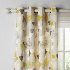 Bohemian Living Room Curtains - John Lewis & Partners Elin Pair Lined Eyelet Curtains, Citrine. Grey And Mustard Curtains, Yellow Curtains, Floral Curtains, Panel Curtains, Curtain Poles, Curtain Fabric, Bedroom Drapes, Lounge Curtains, Furniture
