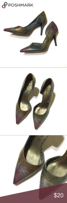 New York Transit Rainbow Snakeskin Heels Beautiful rainbow Snakeskin heels. Material on the outside is in perfect condition & small peeling on the inside sole. New York Transit Shoes Heels