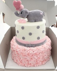 The White Kitten Bakes - Girlbaby shower cake Baby Shower Elephant Theme Tortas Baby Shower Niña, Gateau Baby Shower, Elephant Baby Shower Cake, Elephant Cakes, Fondant Elephant, Elephant Themed Nursery, Elephant Party, Baby Shower Parties, Baby Shower Themes