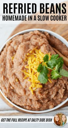 Slow Cooker Refried Beans are a flavor-filled Mexican Side Dish that you never knew was SO easy to make. Easy Side Dish to prepare and no fuss! Refried Beans Slow Cooker, Mexican Refried Beans, Homemade Refried Beans, Rice And Refried Beans Recipe, Mexican Side Dishes, Side Dishes Easy, Side Dish Recipes, Mexican Menu, Mexican Party