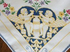 """Vintage Linen """"Cherubs"""" Hand Embroidered Tablecloth 31 3 4"""" x 33 1 2""""   Vintageblessings"""