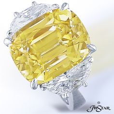 Cushion Cut yellow sapphire with two half moon diamonds. By JB Star.