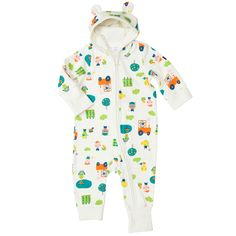 Farm Print Hooded Romper with adorable little ears. From Polarn O. Pyret USA