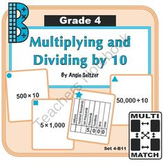 Multi-Match Game Cards 4B: Multiplying and Dividing by 10 from K-8 MathPaths on TeachersNotebook.com -  (10 pages)  - This FREE set of printable Multi-Match game cards helps students understand how place value relates to multiplication and division by 10. This set aligns with CCSS 4.NBT.1.