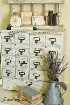 Chippy and distressed card catalog style cabinet. Apothecary Cabinet, Cottage Style, Farmhouse Style, Space Crafts, Shabby Chic Decor, Chabby Chic, Flea Market Style, Country Decor, Painted Furniture