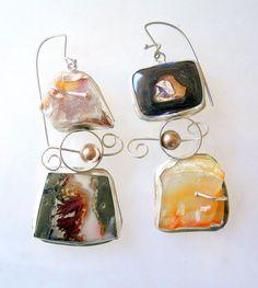 Long Statement Earrings with Rough Stones by laurastamperdesigns, $285.00
