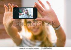 selfie pretty taking blonde shutterstock living