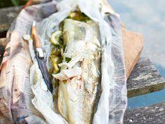 Fisch grillen - Rezepte mit Lachs, Garnelen & Co. - gegrillter-zander-zeitungspapier  Rezept