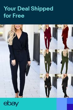 0178d89fc7ea UK Women Long Sleeve Slim Fit Jumpsuit Ladies Evening Party Playsuit Size 8  - 14