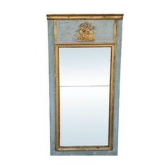 18th-19th Century Louis XVI Style Painted Trumeau Mirror