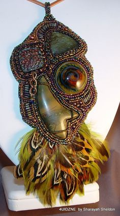 FAB  Feathered Abstract Bird Bead Embroidered Necklace by 4uidzne, $195.00  Everything on sale.   15% off Code: FANS15