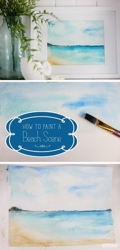 Make your own beach scene painting with help from the skillful Lucy Learnthe wet-on-wet technique that makes this watercolor painting look just like real water and sand. Beach Watercolor, Watercolor Tips, Watercolour Tutorials, Watercolor Techniques, Watercolor Landscape, Painting Techniques, Watercolor Paintings, Simple Watercolor, Tattoo Watercolor