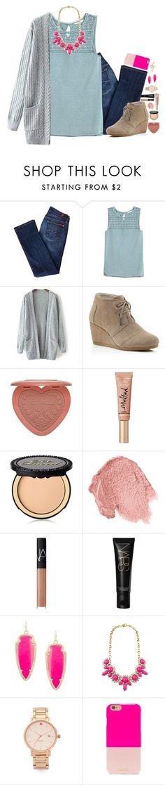"""I've got better things to do then remember you"" by lmr14 ❤ liked on Polyvore featuring 7 For All Mankind, H&M, TOMS, Too Faced Cosmetics, NARS Cosmetics, Kendra Scott, Kate Spade, BaubleBar, women's clothing and women"