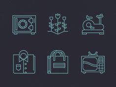 Love the complexity these icons achieve while using so many constraints in line weight and color.