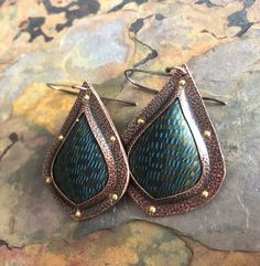 Polymer Clay and Copper Teardrop Artisan Earrings - Janice Abarbanel