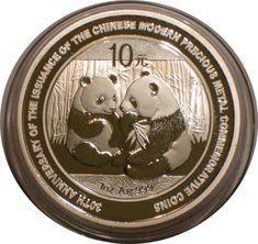 2009 Silver 10 yuan PANDA of China superb Gem BU 30th Anniversary Issue 1 oz