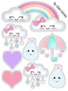 Martha Aguirre Abensur's media content and analytics Rainbow Birthday Party, Rainbow Theme, Raindrop Baby Shower, Baby Shower Clipart, Baby Shawer, Love Is Free, Unicorn Party, Felt Crafts, Cute Drawings