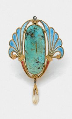 An Art Nouveau gold, enamel, turquoise and pearl brooch in the Egyptian style.