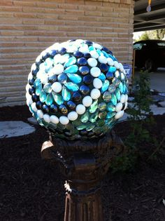 Bowling ball garden art