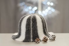 cute striped wool felted hat