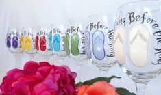 WHAT A UNIQUE WAY TO HELP CELEBRATE THE BACHELORETTE WEEKEND!!Personalize these wine glasses to your favorite colors of flip flops, names and dates and give them to the girls at the party!