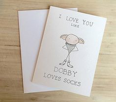 An adorable Dobby card | 18 Harry Potter Gifts To Get Your S.O. For Valentine's Day