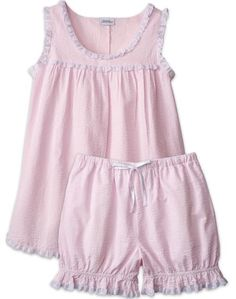 Shop our baby doll pajamas for stylish comfort. Perfect for summer nights, this lightweight womens seersucker baby doll pjs includes bloomer-style shorts and a sleeveless top. Baby Girl Dress Patterns, Little Girl Dresses, Baby Dress, Girls Dresses, Baby Doll Pajamas, Baby Doll Nighties, Pyjamas, Night Gown Dress, Kids Outfits