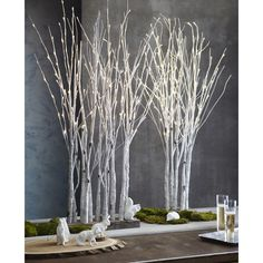 Lighted Birch Large Forest design by Roost (11.430 RUB) ❤ liked on Polyvore featuring home, home decor, holiday, forest home decor, birch home decor and lighted home decor