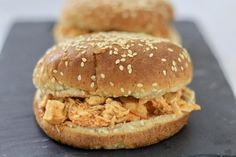 Slow Cooker Buffalo Chicken Sandwiches - #healthy #food #gameday #superbowl #dinner #lunch