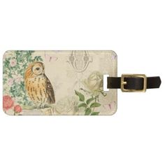 Floral vintage owl luggage tag with beautiful rose - click/tap to personalize and buy