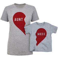 Aunt and Niece Split Heart Shirt Set