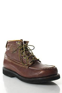 Herman Survivor Men's Chestnut Brown Leather Lace Up Ankle Boots Size 8