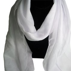 Satin White Scarf, Stripe Rose White Chiffon Scarf, Neck Scarf, Head Scarf, Bridal scarf, White Shawl, White Silky Wrapping, Bridal Cover Up  Beautiful soft and sheer pure ...