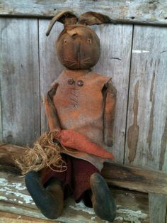 Primitive Bunny Doll Rabbit black wool dress carrots Large folk Art