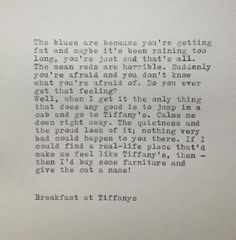 Breakfast at Tiffanys Quote Typed on Typewriter by farmnflea, $12.00