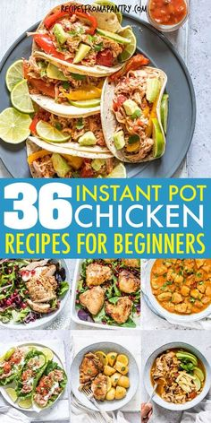This is the Ultimate List of Instant Pot Chicken Recipes for beginners! From chicken breasts, thighs and chicken wings to cooking frozen chicken, bone in chicken, soups, pasta and even a whole chicken Healthy Chicken Recipes, Lunch Recipes, Appetizer Recipes, Keto Recipes, Healthy Dinners, Pressure Cooker Chicken, Pressure Cooker Recipes, Pressure Cooking, Chicken Breasts
